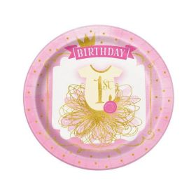 Pink & Gold 1st Birthday plates, 9'' pk8