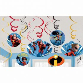 The Incredibles 2 Swirl Decorations, pk12