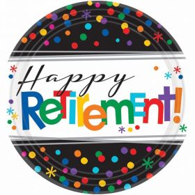 Happy Retirement Paper Plates 17cm, pk8