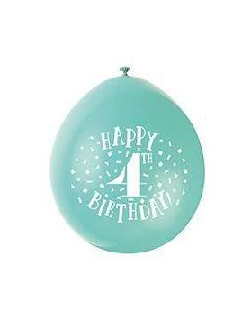 Age 4th Birthday Printed Latex Balloons 9'', pk10