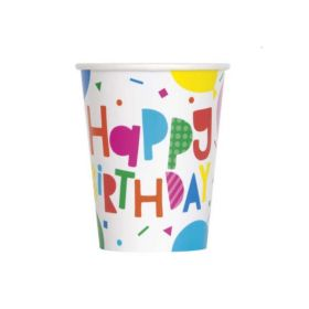 Colourful Balloons Party Cups 270ml, pk8