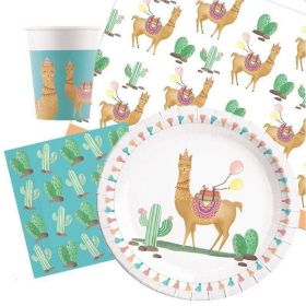 Llama Party Pack For 8 Including Tableware And 8 Filled Party Bags