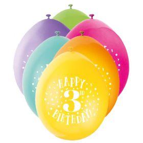 Age 3 Printed Birthday Latex Balloons 9''