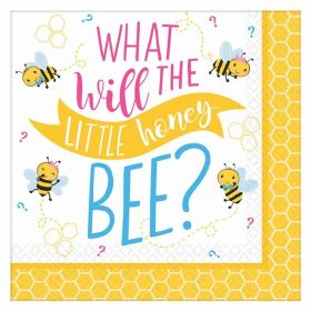 What Will It Bee? Beverage Napkins 25cm x 25cm, pk16