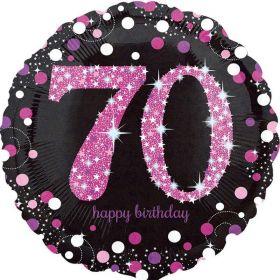 "Pink Sparkling Celebration 70th Birthday Foil Balloon 18"""