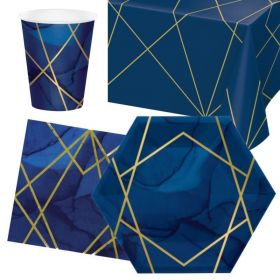 Navy & Gold Geode Party Tableware Pack for 8