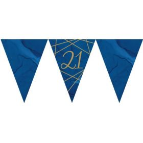 Navy & Gold Geode Party Age 21 Flag Banner 3m