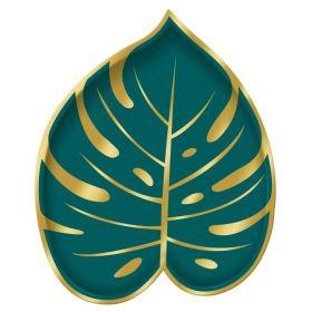 Key West Palm Leaf Shaped Metallic Paper Plates 18cm, pk8