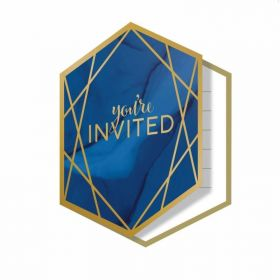 Navy & Gold Geode Party Invitations, pk8