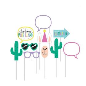Llama Pastel Party Photo Props, pk10