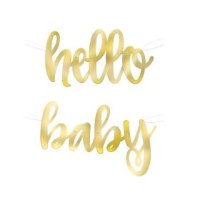 Gold Hello Baby Shower Script Banner 1.1m