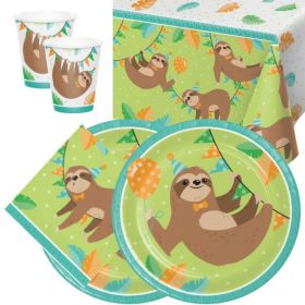 Sloth Party Tableware Pack for 16