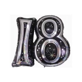 Black 18th SuperShape Holographic Foil Balloon