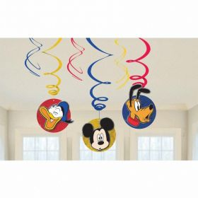 Mickey Mouse Swirl Decorations, pk6