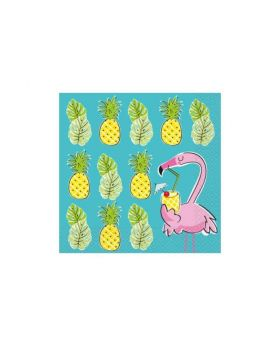 Summer Pineapple & Flamingo Party Napkins 33cm x 33cm, pk16