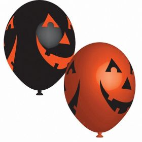 Orange & Black Pumpkins Latex Balloons  27cm