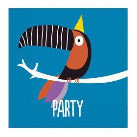 Colourful Toucan Party Napkins 33cm x 33cm, pk20