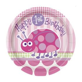 1st Birthday Ladybug Party Plates 8pk