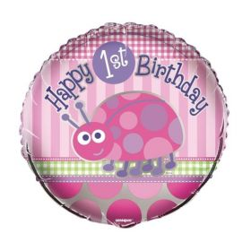 1st Birthday Ladybug Foil Party Balloon