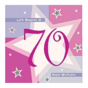Pink Shimmer 70th Birthday Napkins 33cm x 33cm, pk16