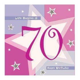 Pink Shimmer 70th Birthday Napkins 33cm x 33cm, pk16