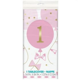 Pink Gingham 1st Birthday Party Tabelcover 1.37m x 2.13m