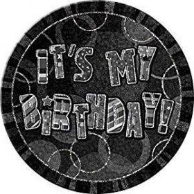 "Black Glitz, It's my Birthday Badge, 6"""