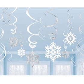 Snowflake Swirl Decoration, pk12