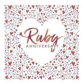 Ruby Anniversary Foil Luxury Napkins 33cm x 33cm, pk16