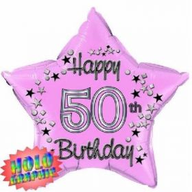 Pink Foil Star Age 50 Foil Balloon 22""