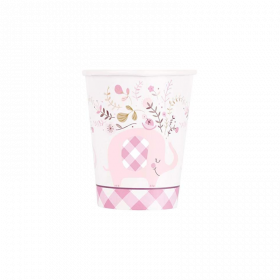 Pink Floral Elephant Baby Shower Cups 270ml, pk8