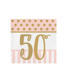 Pink Chic Happy 50th Napkins 33cm x 33cm, pk20