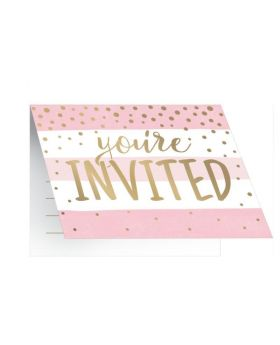 Pink and Gold Baby Shower Party Invitations, pk8