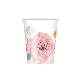 Painted Pink Floral Wedding Cups