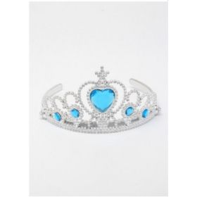 Silver Plastic Tiara with Ice Blue Heart Stone