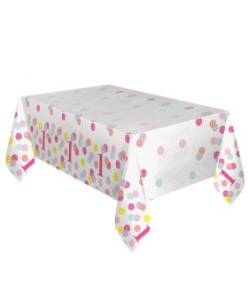 Pink Dots 1st Birthday Tablecover 1.37m x 2.13m