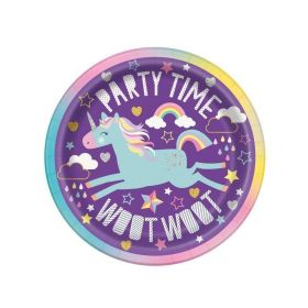 Unicorn Birthday Dessert Plates 18cm, pk8