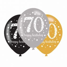 Gold Sparkling Celebration 70th Latex Balloons, pk6