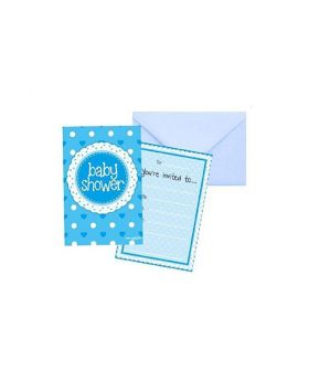 Blue Baby Shower Invitations, pk8