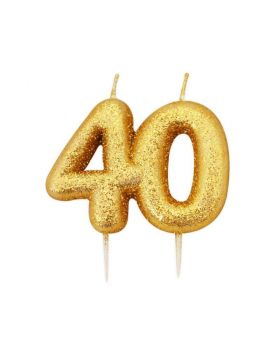 Age 40 Glitter Numeral Moulded Candle Gold