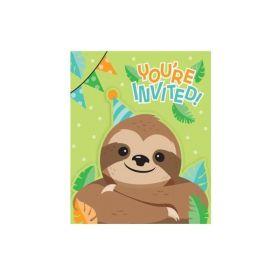 Sloth Party Invitations, pk8