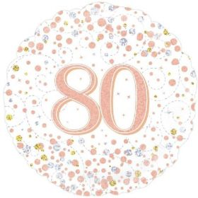 Rose Gold Sparkling Dots 80th Birthday Foil Balloon 18""