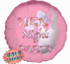 Hen Night Holographic Foil Balloon 18''