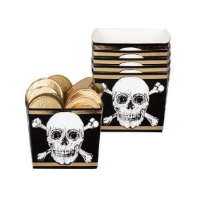 Black & Gold Pirate Bowls 400ml, pk6