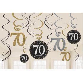 Age 70 Gold Sparkling Celebration Swirl Decoration, pk12