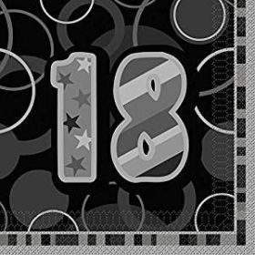 Black Glitz 18th Birthday Lunch Napkins 16pk