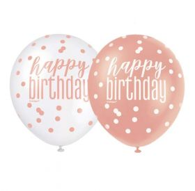 "Glitz Rose Gold Happy Birthday Latex Balloons 12"", pk6"