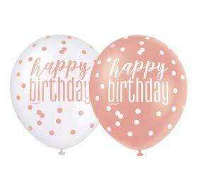 "Glitz Rose Gold Happy Birthday Latex Balloons 12"", pk6"