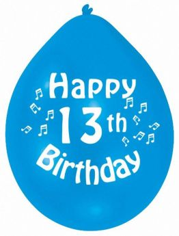 Happy 13th Birthday Mix Colours Latex Balloons, pk10