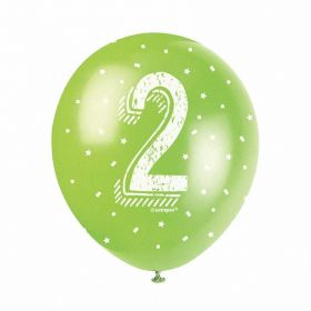 Age 2nd Printed Birthday Latex Balloons 12'', pk5